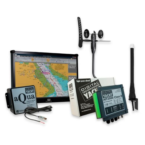 This PC Navigation system with GPS, Wind and AIS includes an Aqua Compact Pro PC, a 23.5″ LCD display, a AIT2000 Class B AIS transponder and a wind sensor.