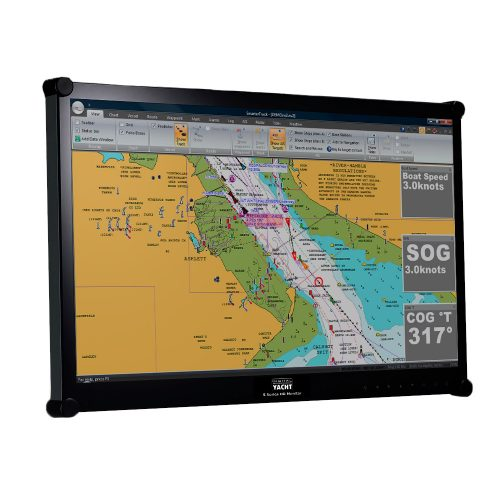 "The S124 23.5"" HD LCD marine monitor is designed for below deck or internal dash mounting, featuring a bright and vibrant 1920 x 1080 pixel display."